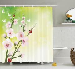 Sakura Desenli Duş Perdesi Çeyizlik Şık Kiraz Çiçeği