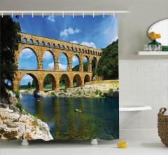 Tarihi Köprü Manzaralı Duş Perdesi Nehir Otantik