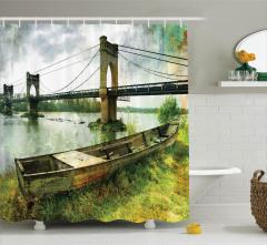 Tarihi Köprü Manzaralı Duş Perdesi Nehir Kenarı