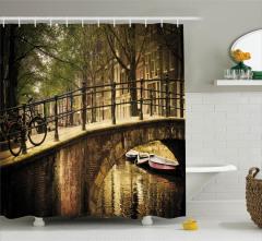 Amsterdam Manzaralı Duş Perdesi Romantik Köprü Kanal