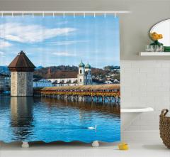 Antik Şehir Manzaralı Duş Perdesi Nehirde Köprü