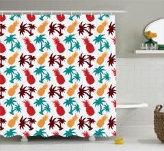 Ananas ve Palmiye Desenli Duş Perdesi Rengarenk