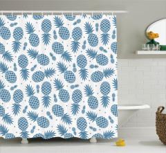 Büyük Küçük Ananas Desenli Duş Perdesi Mavi ve Beyaz