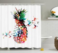 Rengarenk Ananas ve Kuş Desenli Duş Perdesi Beyaz