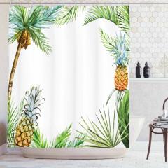 Palmiye Ağaçları ve Ananas Desenli Duş Perdesi Beyaz