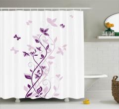Mor Duş Perdesi Menekşe Çiçeği Desenli Bahar Temalı