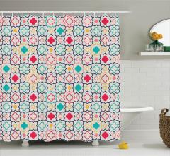Rengarenk Duş Perdesi Şık Tasarım Yonca Desenli