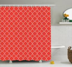 Kırmızı Duş Perdesi Şık Tasarım Beyaz Yonca Desenli