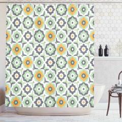 Yeşil Duş Perdesi Şık Tasarım Turuncu Çiçek Desenli
