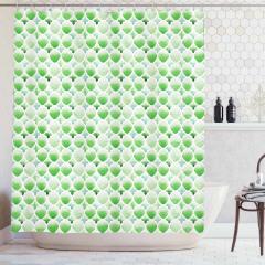 Yeşil Duş Perdesi Şık Tasarım Yonca Figürleri Beyaz
