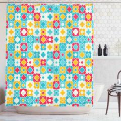Rengarenk Duş Perdesi Çiçek ve Yonca Figürleri