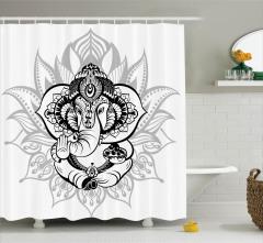 Hint Tarzı Siyah Fil Desenli Duş Perdesi Gri Çiçekli