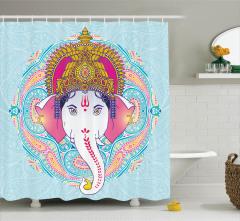 Hint Tarzı Pembe Fil Desenli Duş Perdesi Mavi Fonlu