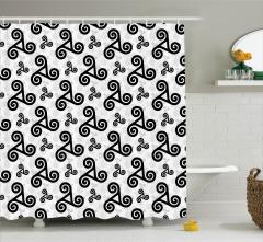 Siyah Geometrik Desenli Duş Perdesi Beyaz Gri Fonlu