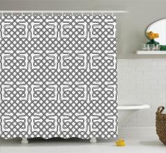 Dekoratif Geometrik Desenli Duş Perdesi Siyah Beyaz