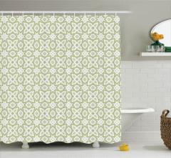 Yeşil ve Gri Geometrik Desenli Duş Perdesi Beyaz Fon