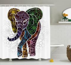 Çiçek Desenli Fil Figürü Duş Perdesi Rengarenk