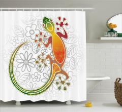 Çiçek Desenli Kurbağa Figürü Duş Perdesi Rengarenk
