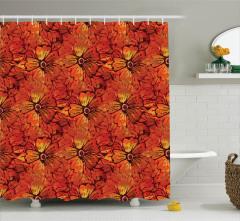 Turuncu Duş Perdesi Çiçekli Şık Tasarım Kırmızı Sarı