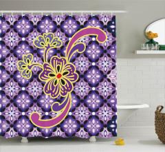 Mor Duş Perdesi Çiçek Desenli Çeyizlik Şık Tasarım