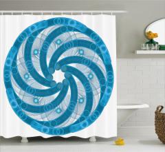 Mavi Beyaz Girdap Desenli Duş Perdesi Ağ Görünümlü