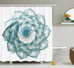 Çiçek Şekilli Girdap Desenli Duş Perdesi Mavi Beyaz