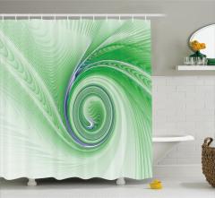 Yeşil Mavi Girdap Desenli Duş Perdesi Cam Efektli