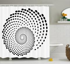 Siyah Puantiyeli Girdap Desenli Duş Perdesi Beyaz