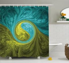 Yeşil Mavi Dini Girdap Desenli Duş Perdesi Dekoratif