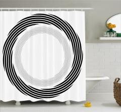 Dairesel Girdap Desenli Duş Perdesi Siyah ve Gri