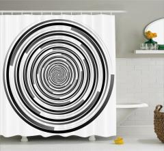 Siyah Gri Girdap Desenli Duş Perdesi Şık Tasarım