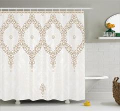 Dantel Desenli Duş Perdesi Çiçek Şık Tasarım