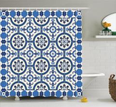 Çini Desenli Duş Perdesi Mavi Beyaz Çeyizlik