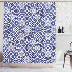 Çini Desenli Duş Perdesi Mavi Beyaz Kareli