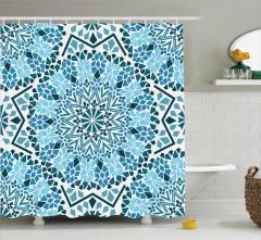 Mozaik Desenli Duş Perdesi Çiçekli Mavi Şık
