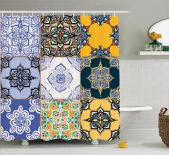 Mavi Çiçek Desenli Duş Perdesi Kareli Trend