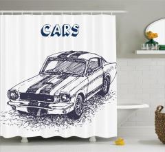 Otomobil Desenli Duş Perdesi Siyah Beyaz Elle Çizim