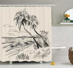 Deniz ve Palmiye Desenli Duş Perdesi Elle Çizim Krem