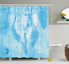 Beyaz ve Mavi Tüy Desenli Duş Perdesi Şık Tasarım