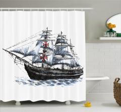 Gemi Desenli Duş Perdesi Siyah Beyaz Dalga Trend
