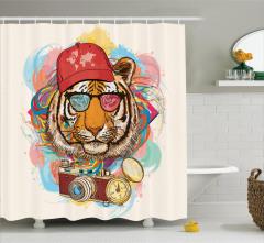 Rengarenk Kaplan Desenli Duş Perdesi Sulu Boya Şık