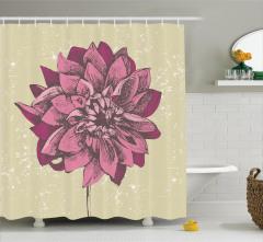 Mor Çiçek Desenli Duş Perdesi Bahar Temalı Çeyizlik