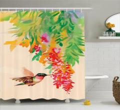 Kuş ve Çiçek Desenli Duş Perdesi Rengarenk Çeyizlik