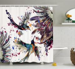Çiçek ve Kuş Desenli Duş Perdesi Rengarenk Çeyizlik