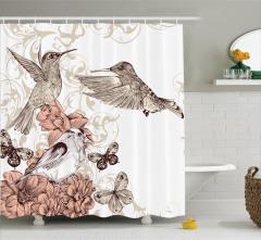Kuş ve Çiçek Temalı Duş Perdesi Kahverengi Çeyizlik