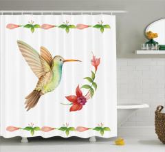 Çiçek ve Kuş Desenli Duş Perdesi Rengarenk Trend