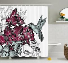 Bordo Çiçek ve Kuş Desenli Duş Perdesi Şık Tasarım