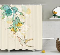 Yeşil Çiçek ve Kuş Desenli Duş Perdesi Çeyizlik Şık