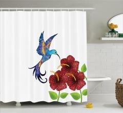 Bordo Çiçek ve Mor Kuş Desenli Duş Perdesi Çeyizlik