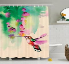 Çiçek ve Kuş Desenli Duş Perdesi Sulu Boya Çeyizlik